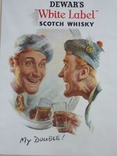 Large Vintage mounted print Dewar's White Label Whisky Scotland 1951 Christmas