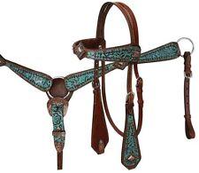 Showman TEAL Filigree Copper Concho MediumOil Leather Horse Bridle Breast Collar