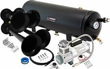 LOUD 4/QUAD TRUMPET TRAIN SOUND AIR HORN FULL SYSTEM KIT 3 GAL TANK/COMPRESSOR
