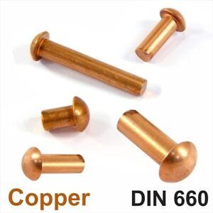 Solid Copper Round Pan Head Rivets DIN 660 M2 M2.5 M3 M4 M5 M6 Nut Hammer Rivet