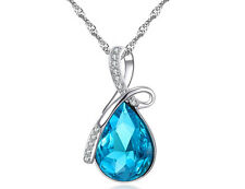 Fashion Womens Silver Chain Crystal Rhinestone Pendant Necklace Jewelry Gift