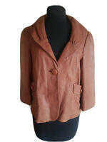 Classiques Entier Women's Jacket Brown Leather Button Front Coat Size Medium