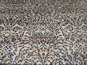 ROLL END 8.4 METRES LUXURY QUALITY LEOPARD THEME TAUPE VELVET UPHOLSTERY FABRIC