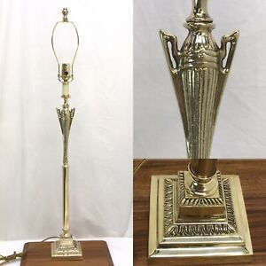 Antique Vtg Art Deco Brass Trophy Table Lamp Tall Buffet Candlestick Hollywood