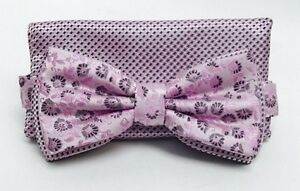 Stacy Adams Men's Bow Tie Hanky Set Pink Charcoal Silver Multi Design Microfiber