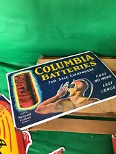VINTAGE PORCELAIN COLUMBIA BATTERIES GAS AND OIL SIGN