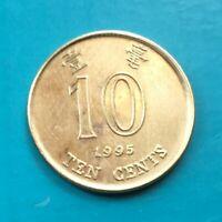 1995 10 TEN CENTS HONG KONG COIN VERY NICE