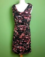Phase Eight Party Dress UK 16 Black Pink Floral Crinkle Fitted Wiggle Lined Knee