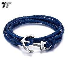TT Blue Multi Leather 316L Stainless Steel Anchors Bracelet (BR207FS) NEW