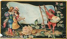 Vintage Advertising Label  Beautiful Roses With a Painter Painting  A Couple
