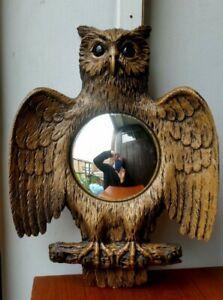sunburst mirror vintage 1960-70s owl form French starburst witch keys holder