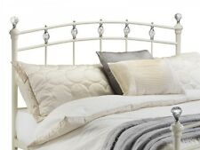 Exquisite Stone White Metal Bed 3ft 4ft6 5ft Crystal Finials Chrome Detail
