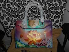 New Rare Anuschka Nirvana Handpainted Lotus Satchel 656-NRV