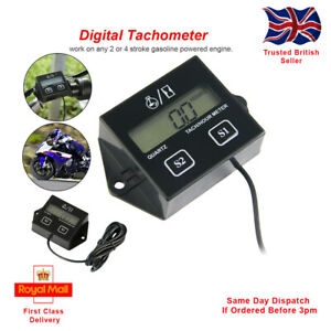 Digital Engine RPM Tachometer Hour Meter Gauge. For 2 and 4 Stroke Engines.