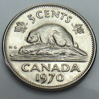 1970 Canada 5 Five Cents Canadian Nickel Circulated Coin E866