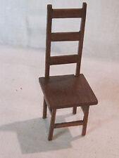 Primitive artisan handmade wooden ladder back dollhouse chair 1:12