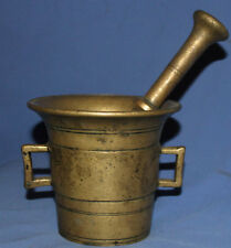 ANTIQUE 18 -19c HAND MADE BRASS MORTAR BOWL AND PESTLE