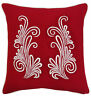 Red Cotton Cushion Cover Throw Floral Embroidered Square Pillow Case Decor