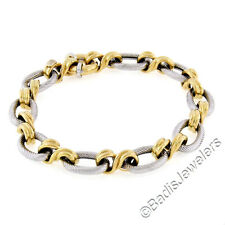 """NEW Italian 14K TT Gold 8"""" Oval Twisted Wire Ribbed Infinity Link Chain Bracelet"""