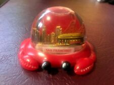 VTG Plastic San Francisco Crab Snow Globe Dome Souvenir 1994 Streetcar Bridge
