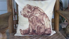 "BROWN BEAR ANIMAL PILLOW COVER, 17"" X 17"" LAID FLAT"