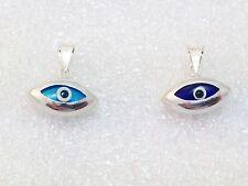 925 Sterling Silver Blue Dark Blue Evil Eye Pendant Necklace Glass Bead