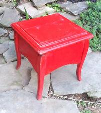 ANTIQUE Oak SHOE SHINE STAND Queen Anne legs Cast Iron rest Primitive RED Paint