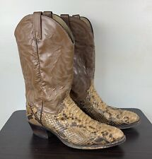 Dan Post Black Leather Stitched Cowboy Western Python Boots Mens 11 D P2115