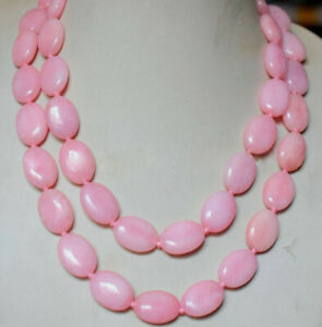 Fashion 13X18mm Natural Pink Jade Oval Gems Beads Long Necklace 28/36/48/60''