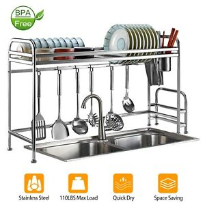 2-Tier Over The Sink Dish Drying Rack Shelf Holder Stainless Steel Organizer