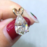 2.15 Ct Near White Pear Fancy Moissanite 10k Solid Yellow Gold Beautiful Pendant