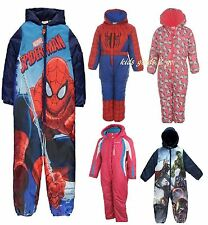 kids winter snowsuit girls boys hooded SPIDERMAN HELLO KITTY WATERPROOF 1 PIECE