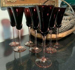 "8 Mikasa Blossom Plum 9"" Champagne Flute Glasses Optic Swirl Amethyst  Excellent"
