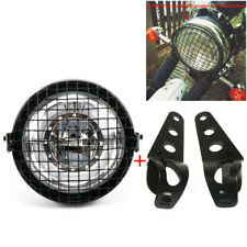 "6.5"" Universal Retro LED Headlight Grill Side Mount Cover Bracket Cafe Racer Kit"
