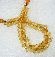 "Natural Golden Citrine Drilled Briolette Cut Drops Loose Beads 66.60 Cts 6"" 1-L"