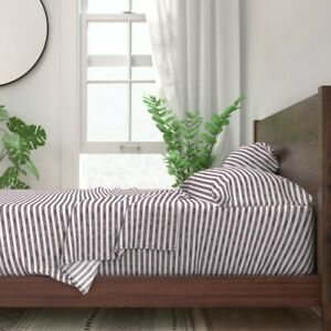 Transitional Watercolor Stripes Plum 100% Cotton Sateen Sheet Set by Roostery