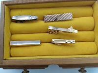 Vintage 1950-60 Men's Tie Clips Silver & Gold Tone - LOT of FIVE