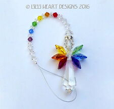 m/w Swarovski Crystal Large 44mm Rainbow Angel Sun Catcher Lilli Heart Designs