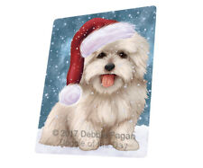 Let it Snow Christmas Coton De Tulear Dog Tempered Cutting Board Large Db86