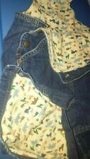 6 / 12 month Lined Baby Gap Denim Overalls boy Euc jean Bear Animals Fall Winter