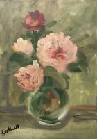 Print of Original oil painting art flowers floral pink impressionism shabby chic