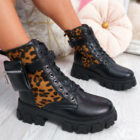 WOMENS LADIES LACE UP GRIP SOLE ANKLE BOOTS ZIP FASHION LEOPARD WOMEN SHOES SIZE