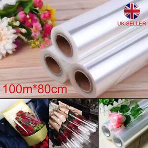 New 100mX80cm Wide Plain Clear Florist Craft Cellophane Roll Film Wrap Hamper UK