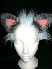 The Cheshire Cat Ears Fancy Dress Light Blue & Grey Fun Fur Cat Ears One Size