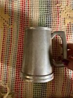 VINTAGE English Pewter Tanker Beer Stein Made In Sheffield England Glass Bottom