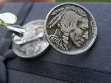 Earrings clip on closure authentic vintage Buffalo Indian Nickel coins full date