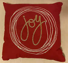 """joy"" Christmas Decor Beaded Pillow- Red And Gold"
