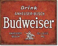 Anheuser Budweiser Drink Bud Beer Metal Tin Sign Pub Bar Room Home Decor New