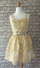 River Island Yellow Silver Leaf Print 50's Cocktail Party Dress BNWT UK12 Summer