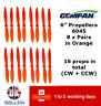 "Gemfan Propellers Props 6"" 6045 x16 8 Pairs Orange QAV 250 Racer FPV Emax ZMR UK"